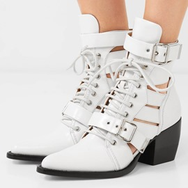 Ericdress Hollow Lace-Up Front Chunky Heel Women's Ankle Boots