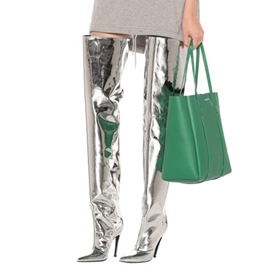 Ericdress Pointed Toe Stiletto Heel Over The Knee Metallic Boots