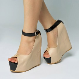 Ericdress Peep Toe Line-Style Buckle Wedge Heel Women's Sandals