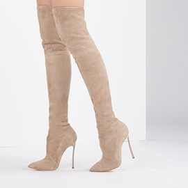Ericdress Plain Pointed Toe Stiletto Heel Over The Knee Boots