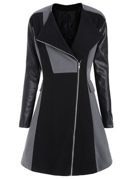 Ericdress Mid-Length Patchwork Color Block Lapel Zipper Coats
