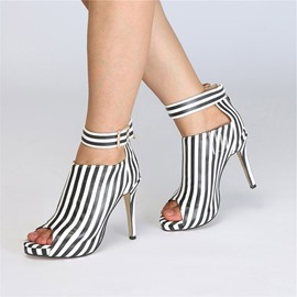 Ericdress Stripe Peep Toe Stiletto Heel Women's Ankle Boots