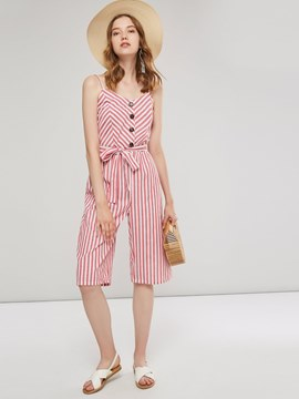 Ericdress Lace-Up Stripe Mid-Calf Wide Legs Slim Jumpsuit