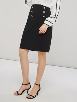 Ericdress Plain Bodycon Standard Waist Office Lady Skirt