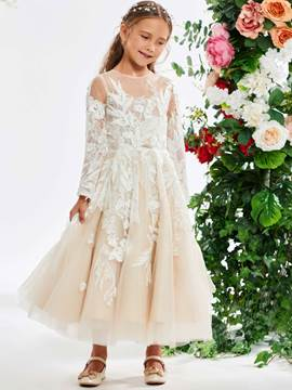 Ericdress Tea-Length Lace Long Sleeve Girl's Party Dress