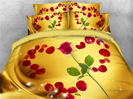 3D Heart Shaped Red Rose Petal Golden Digital Printing Cotton 4-Piece Bedding Sets/Duvet Covers