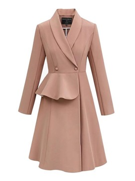Ericdress Elegant Plain Double-Breasted Notched Lapel Long Coat