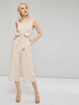 EricdressElegant Plain Belt Date Night Slim Pocket Jumpsuit