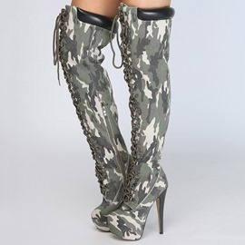 Ericdress Camouflage Platform Stiletto Heel Knee High Boots