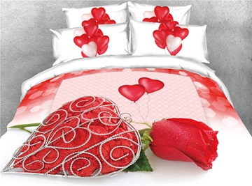 3D Love Heart and Red Rose Romantic Digital Printing Cotton 4-Piece Bedding Sets/Duvet Covers