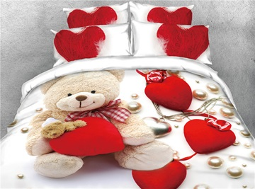 3D Bear and Red Heart Love Digital Printing Cotton 4-Piece Bedding Sets/Duvet Covers