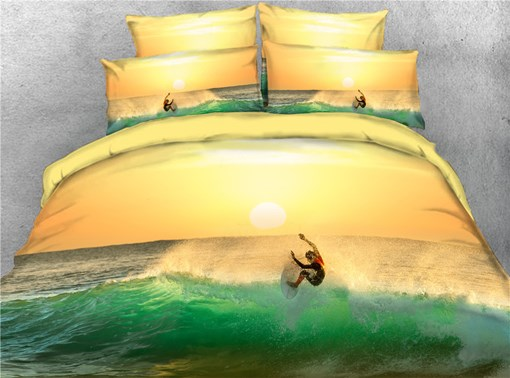 3D Cool Surfing on the Sea Digital Printed Cotton 4-Piece Bedding Sets/Duvet Covers