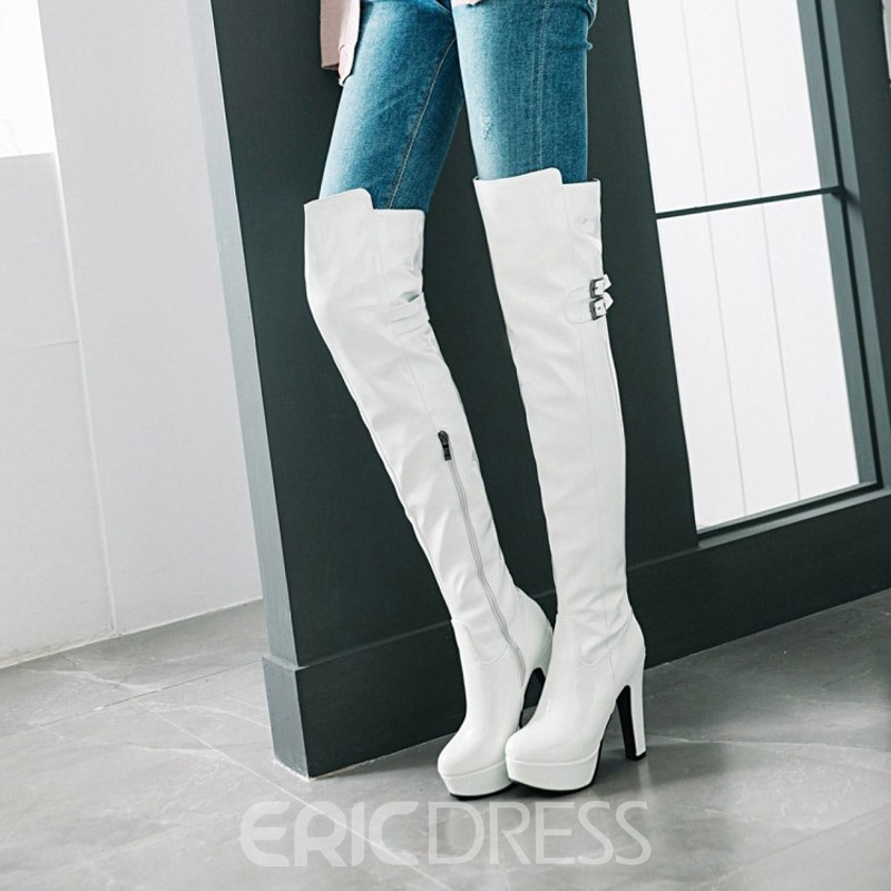 Ericdress Plain Side Zipper Chunky Heel Women's Knee High Boots