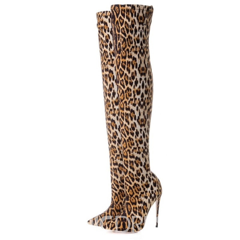 Ericdress Leopard Print Pointed Toe Stiletto Heel Over The Knee Boots
