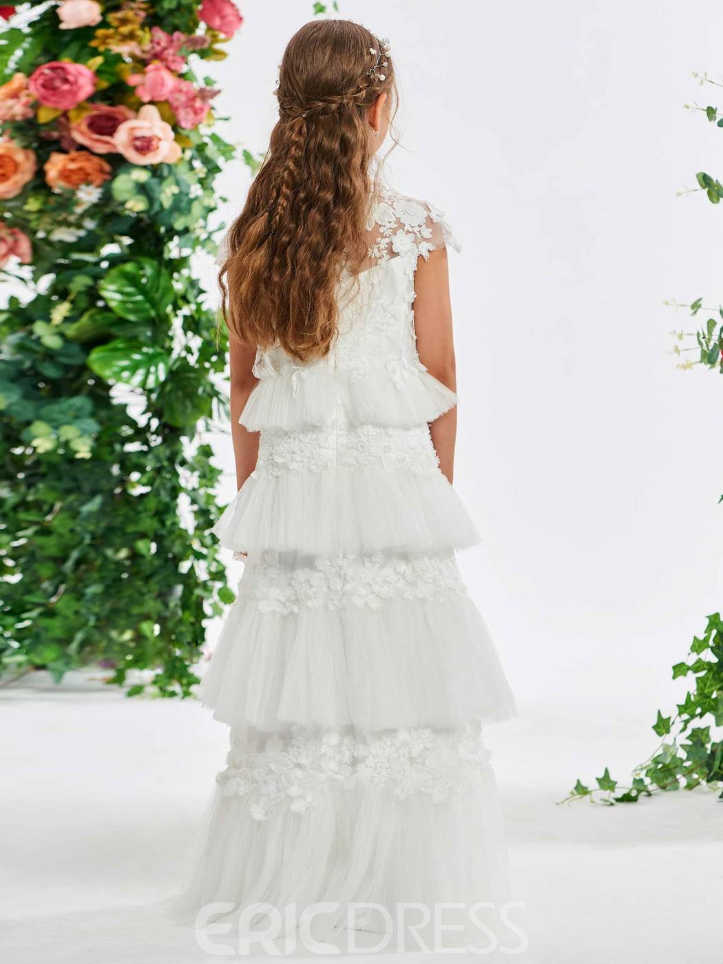 Ericdress Lace Appliques Tiered Flower Girl Dress