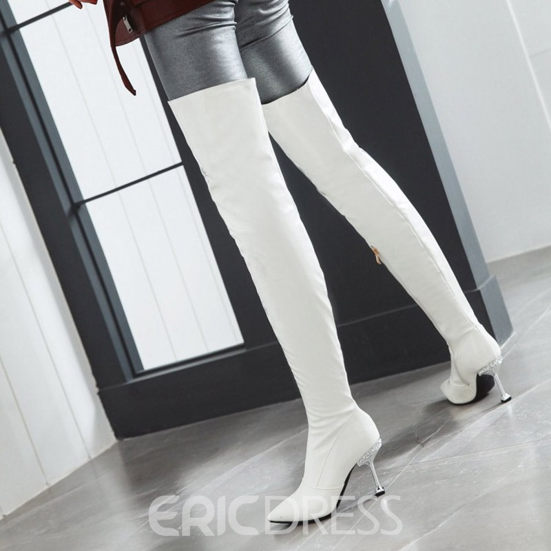 Ericdress Pointed Toe Side Zipper Over The Knee Boots