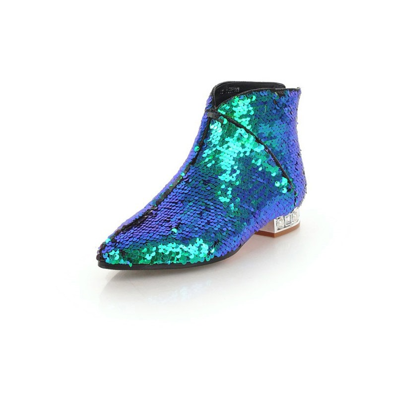 Ericdress Sequin Back Zip Block Heel Women's Ankle Boots