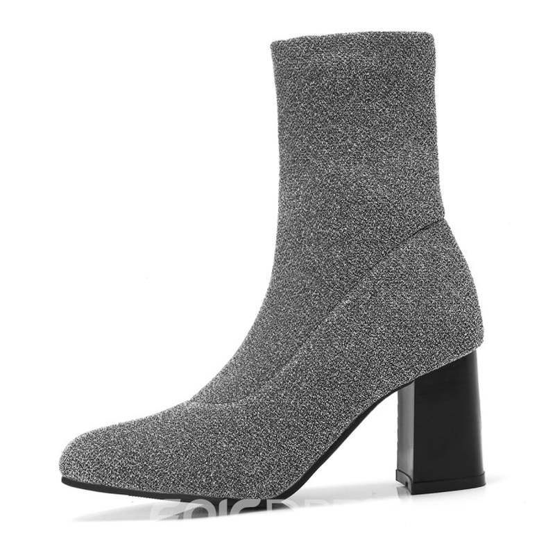 Ericdress Lace Chunky Heel Slip-On Women's Ankle Boots