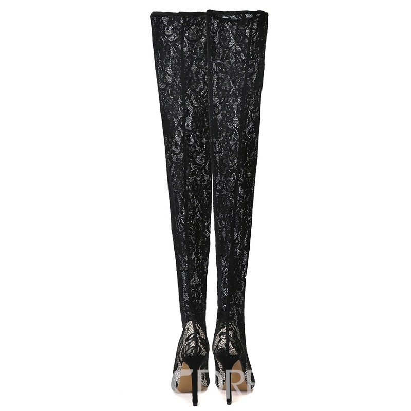 Ericdress Lace Pointed Toe Stiletto Heel Over The Knee Boots