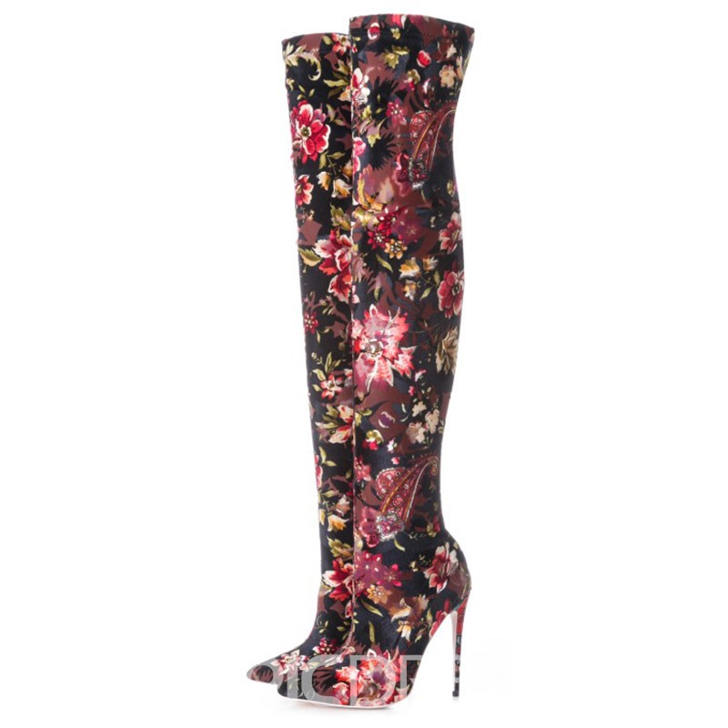Ercidress Floral Pointed Toe Stiletto Heel Over The Knee Boots