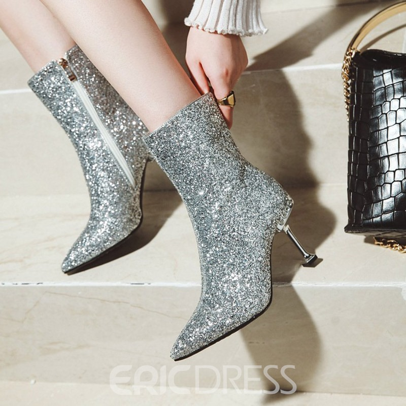Ericdress Sequin Plain Pointed Toe Stiletto Heel Ankle Boots