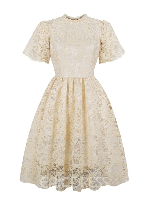 Ericdress Vintage Short Sleeves A Line Cocktail Dress