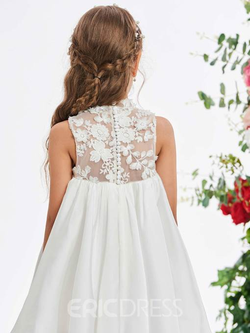 Ericdress High Neck Lace High Low Flower Girl Dress