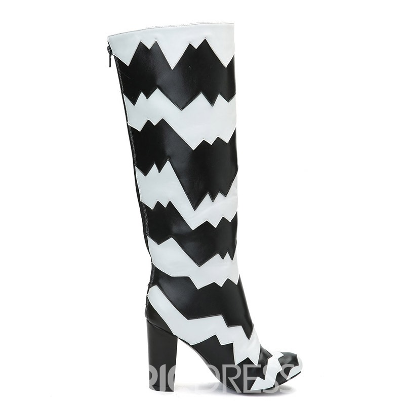 Ericdress Color Block Chunky Heel Women's Knee High Boots