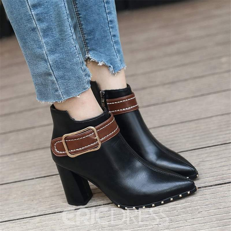 Ericdress Rivet Pointed Toe Chunky Heel Ankle Boots