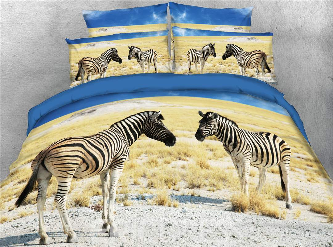 3D Two Zebra on the Gobi Digital Printed 4-Piece Bedding Sets/Duvet Covers