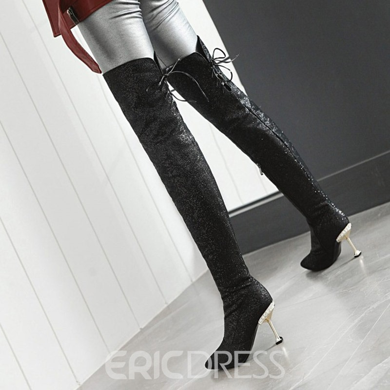 Ericdress Glitter Pointed Toe Stiletto Heel Over The Knee Boots