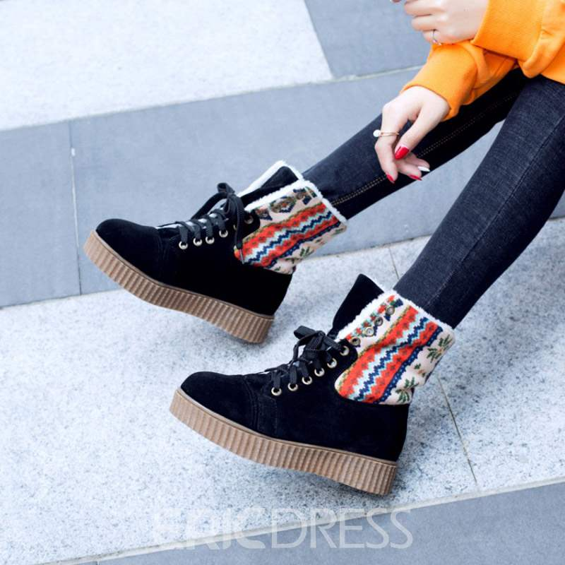 Ericdress Color Block Lace-Up Front Women's Snow Boots