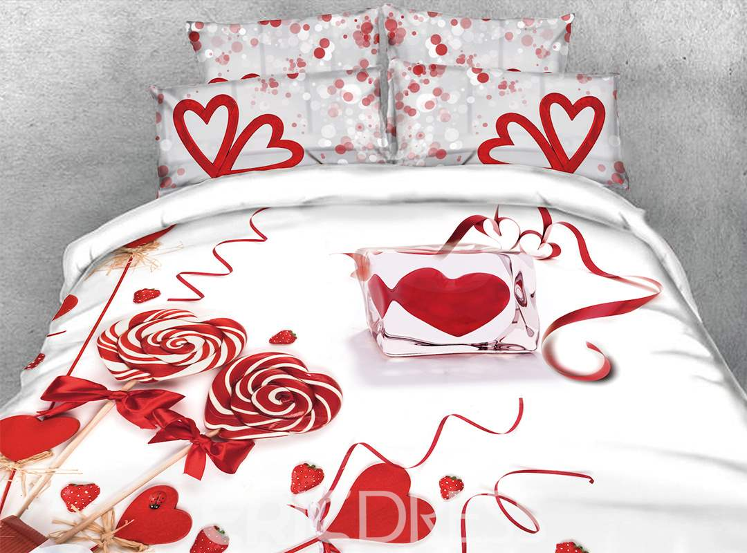 3D Red Love Heart Gift Digital Printing Cotton 4-Piece Bedding Sets/Duvet Covers