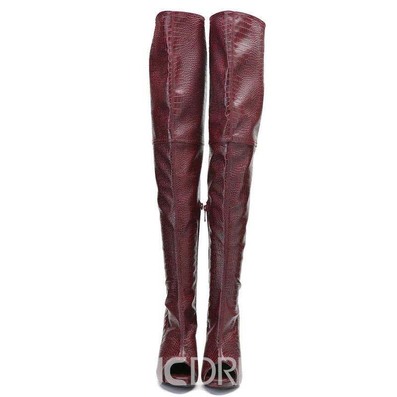 Ericdress Peep Toe Stiletto Heel Over The Knee Boots
