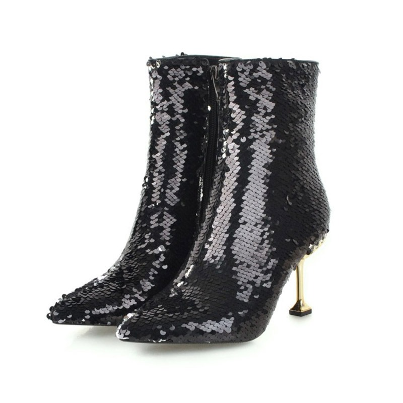 Ericdress Sequin Pointed Toe Stiletto Heel Ankle Boots