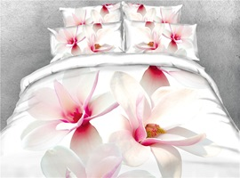 White Magnolia Digital Printing Cotton 4-Piece 3D Bedding Sets/Duvet Covers