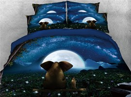 3D Elephant & Night Moon Digital Printed 4-Piece Black Bedding Sets/Duvet Covers