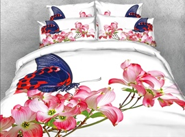3D Butterfly and Pink Flower Digital Printing Cotton 4-Piece Bedding Sets/Duvet Covers