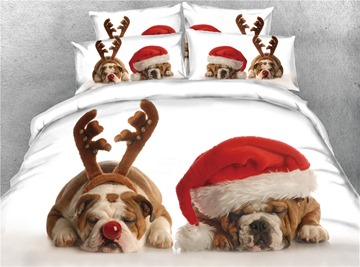 3D Pug Wearing Christmas Hat Digital Printed Cotton 4-Piece Bedding Sets/Duvet Covers
