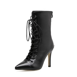 Ericdress Hollow Back Zip Pointed Toe Stiletto Heel Ankle Boots