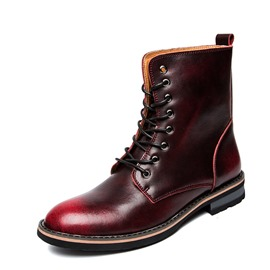 Ericdress Plain Lace-Up Front Men's Martin Boots