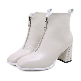 Ericdress Plain Square Toe Chunky Heel Ankle Boots