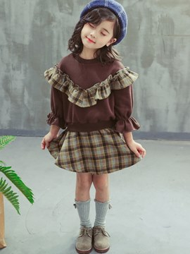 Ericdress Plaid Skirt Patchwork Hoodies Print Girl's Casual Outfits