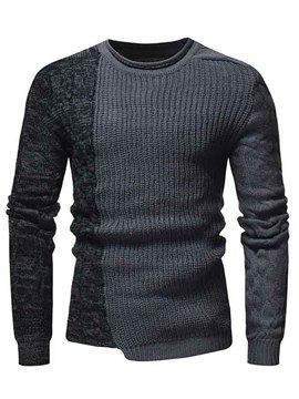 Ericdress Patchwork Asymmetric Scoop Mens Casual Unique Pullover Sweaters