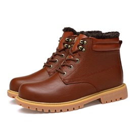 Ericdress Plain Mid-Calf Lace-Up Front Men's Martin Boots