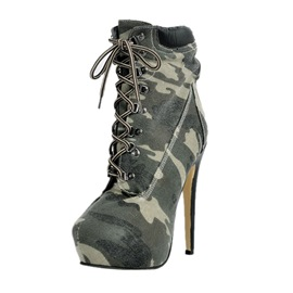 Ericdress Camouflage Lace-up High-heel Boots