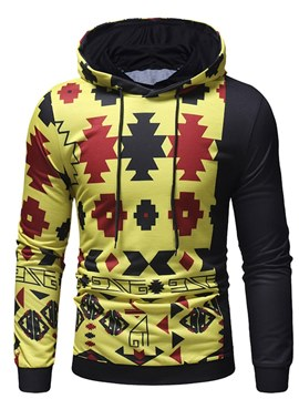 Ericdress Geometric Print Color Block Pullover Mens Casual Hoodies