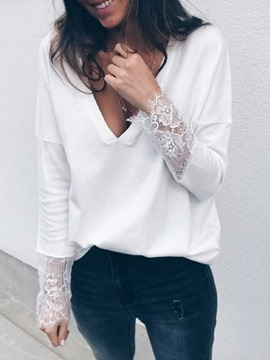 Ericdress V-Neck Standard Long Sleeve Fall Loose T-Shirt