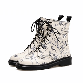 Ericdress Floral Lace-Up Front Block Heel Martin Boots