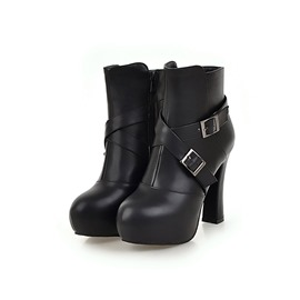 Ericdress Round Toe Platform Chunky Heel Women's Ankle Boots